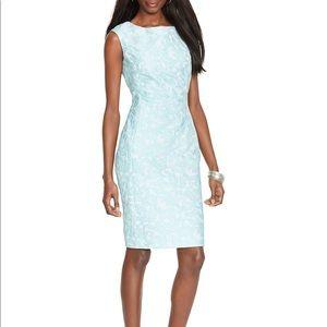 Ralph Lauren Jacquard Blue Metallic Sheath Dress